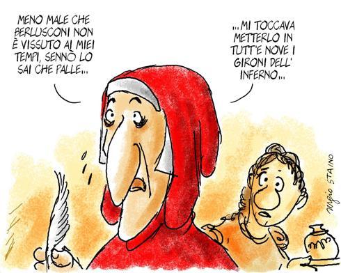 La vignetta con cui si chiude il libro All togheter Bobo. Il personaggio di Bobo, sodale di Dante, è nato sul Corriere Fiorentino, 2009