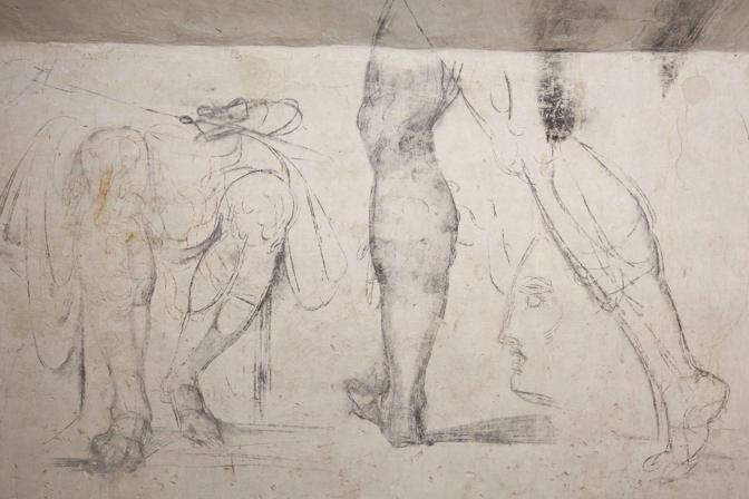 Disegni mai visti di Michelangelo «riemergono» da una stanza segreta, celata sotto la sacrestia nuova del complesso monumentale della basilica di San Lorenzo a Firenze (che ospita le cappelle medicee), dove l'artista si nascose per tre mesi durante l'assedio spagnolo di Firenze del 1529. Sulle pareti dello stretto «loculo» di sette metri per due, l'artista, in condizione di forzata cattività, sfogò la sua creatività abbellendo a carboncino buona parte della superficie delle lunghe pareti con ogni sorta di bozzetti, alcuni dei quali sarebbero diventati, in seguito, opere compiute. La stanza segreta, scoperta nel novembre del 1975, durante alcuni lavori di adeguamento dall'allora direttore del Museo delle cappelle medicee, Paolo Dal Poggetto, è tuttora inaccessibile al pubblico e tale destinata a restare, «per motivi di sicurezza», ha spiegato oggi presentando i disegni la direttrice del museo Monica Bietti. Le creazioni a carboncino di Michelangelo, però, saranno da ora in poi visibili, grazie ad un percorso multimediale dedicato ai capolavori del Buonarroti ospitati a Firenze che sarà 'navigabilè da postazioni ad hoc collocate nel museo del Bargello, nella Galleria dell'Accademia e nel complesso della basilica di San Lorenzo, dove sono le cappelle medicee