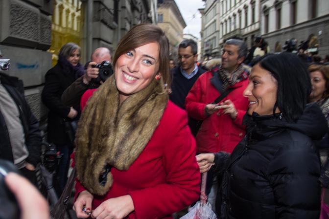 Maria Elena Boschi davanti a Palazzo Ruspoli a Firenze