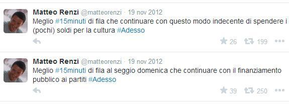 Renzi inventa #15minuti per convincere la gente ad andare a votare. E Adesso diventa lo slogan di tutta la campagna elettorale. Sfida Pierluigi Bersani che poi vincerà