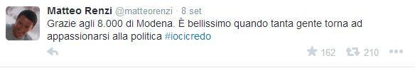«Iocicredo», Renzi è di nuovo in pista