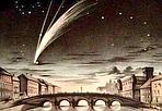 La cometa al buio  - Il passante che dal ponte Santa Trinita avesse rivolto lo sguardo a occidente verso il ponte alla Carraia, la sera del 5 ottobre 1858, avrebbe potuto ammirare una delle più belle comete dell'Ottocento. Nell'illustrazione popolare tedesca su una Firenze abbastanza immaginaria sono riportate anche le stelle del Grande Carro (a destra) e Arturo vicino al nucleo. La cometa, scoperta a Firenze il 2 giugno 1858 dall'astronomo Giovanni Battista Donati dalla Torre dell'attuale Museo della Specola, fu osservata nel mondo intero per oltre due mesi. In ricordo dei bei tempi in cui il cielo era buio, e con gli auguri di una Felice Epifania, la redazione offre agli affezionati lettori questa splendida cometa fiorentina. GUARDA LE IMMAGINI SUL SITO DELL'OSSERVATORIO DI ARCETRI