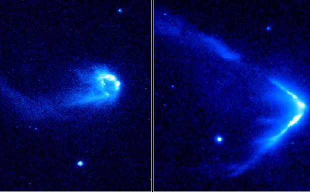 La freccia-stella - Sembrano comete, ma in realtà sono stelle che si fanno strada velocemente all'interno di regioni dense di gas interstellare. Nei due esempi sono ben visibili la testa molto brillante, a forma di freccia o arco, e una coda diffusa. La testa, detta choc di prua, si forma quando i venti provenienti dalla stella, sbattono contro il mezzo circostante. Il fenomeno è simile a quando una barca veloce si muove in un lago. Le dimensioni degli choc di prua variano fra circa 200 e 5.000 miliardi di chilometri, dipendentemente dalla distanza delle stelle e sono indicativi di una velocità di circa 180.000 chilometri all'ora. (Sofia Randich Crediti: NASA, ESA, R. Sahai) GUARDA LE IMMAGINI SUL SITO DELL'OSSERVATORIO DI ARCETRI