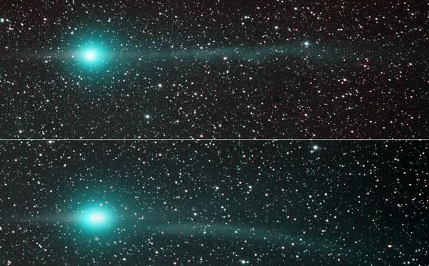 L'ultima cometa  - La cometa C/2007 N3 (Lulin) è stata scoperta l'11 Luglio 2007 da astronomi dell'osservatorio Lulin (Taiwan) alla ricerca di asteroidi che potrebbero cadere sulla Terra. La cometa è ora vicina alla Terra, a «soli» 60 milioni di chilometri, dopo esser passata al perielio pochi giorni fa. Anche se è una delle comete più luminose, non sarà visibile ad occhio nudo. Le foto sono state riprese da un astronomo amatore lo scorso 31 gennaio (alto) e il 4 febbraio (basso). A sinistra è ben visibile l'anticoda, a destra la coda di ioni si estende per milioni di Km. La coda di ioni ha cambiato aspetto, a causa del vento solare. (Gian Paolo Tozzi Crediti: Joseph Brimacombe)