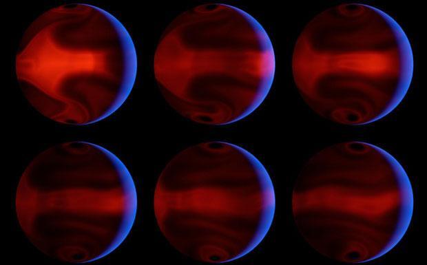 Sbalzi di calore - Grazie ad osservazioni effettuate con il satellite Spitzer si sono scoperti drammatici cambi di temperatura sulla superficie di un pianeta extra solare: nell'intervallo di sei ore la temperatura è variata da 500 a più di 1.200 gradi. Il riscaldamento improvviso è dovuto all'orbita eccentrica del pianeta che lo porta a passare vicino al suo sole. La temperatura e le sue variazioni sono frutto di simulazioni al computer. Le zone rosso intense sono quelle più calde. Lo spicchio blu rappresenta la luce della stella riflessa dal pianeta. Il sistema stella - pianeta si trova a 200 anni luce, nella costellazione dell'Orsa Maggiore. (Sofia Randich  Crediti: NASA, JPL-Caltech, J. Langton) GUARDA LE IMMAGINI SUL SITO DELL'OSSERVATORIO DI ARCETRI