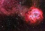 Unicorno in rosa - La nebulosa rosa fiammante a destra nell&#8217;immagine, chiamata Nebulosa Rosetta,  situata a 5.000 anni luce di distanza nella costellazione dell&#8217;Unicorno, tra il gigante Orione e Procione, il pi piccolo dei suoi cani da caccia. Tra i petali della rosa si annida uno sciame di stelle giovani, nate dalla materia della nebulosa alcuni milioni di anni fa. Lo stelo della rosa (a sinistra)  un lungo filamento di gas, che brilla della luce rossa emessa dagli atomi di idrogeno. Con la rosa e l&#8217;Unicorno, simboli d&#8217;amore, auguriamo buon San Valentino a tutti lettori. (Daniele Galli Crediti: Adam Block e Tim Puckett) GUARDA LE IMMAGINI SUL SITO DELL'OSSERVATORIO DI ARCETRI