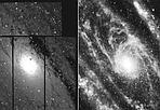 Polvere di stelle - La regione centrale della galassia di Andromeda, una delle più vicine, osservata nel violetto (a sinistra)