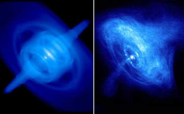 Il Granchio e l'esplosione - La Nebulosa del Granchio � il resto dell'esplosione di una stella. Gli strati stellari pi� interni, crollando su se stessi, hanno formato una stella di neutroni in rapida rotazione e con alti campi magnetici sulla sua superficie. Da tale oggetto, detto pulsar, fuoriesce un vento di campi magnetici e elettroni relativistici. A destra la foto in raggi X della nebulosa (il punto centrale � la pulsar), a sinistra il risultato di una simulazione al computer realizzata ad Arcetri. (Marcello Felli Crediti: Nasa/Cxc; Gruppo Astrofisica Alte Energie, Arcetri) GUARDA LE IMMAGINI SUL SITO DELL'OSSERVATORIO DI ARCETRI