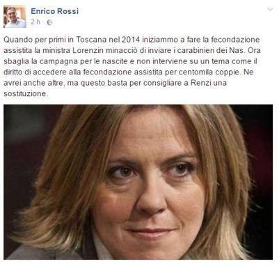 Fertility day, il presidente Rossi: Renzi sostituisca Lorenzin